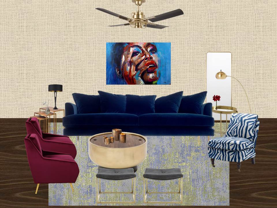 E-Design/Virtual Design - Glam Sustainable Living Room